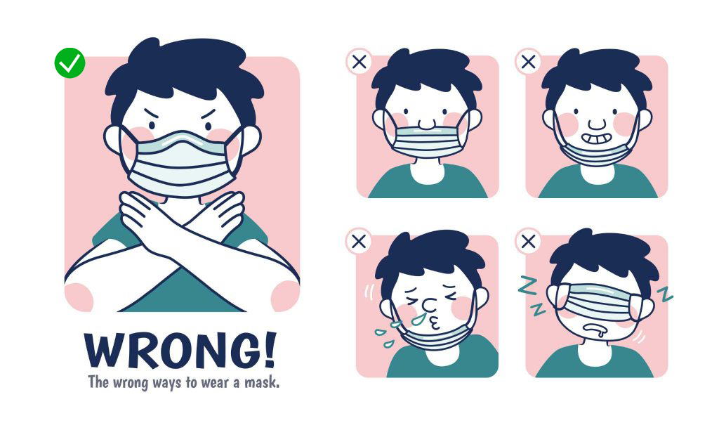 Incorrect examples of wearing a mask